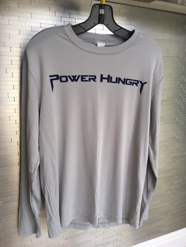 Power Hungry Performance Long Sleeve Shirt – Grey with Text Logo